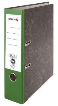 Pákový pořadač Niceday - A4, kartonový, nalepená  hřbetní etiketa, šíře hřbetu 7,5 cm, zelený