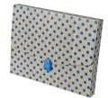 Box na spisy - A4, hnědý s modrým puntíkem, 1 ks