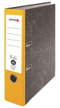 Pákový pořadač Niceday - A4, kartonový, nalepená hřbetní etiketa, šíře hřbetu 7,5 cm, žlutý
