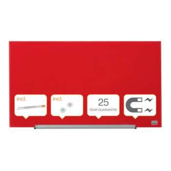 Skleněná tabule Nobo s odjím.lištou,68x38 cm,červená