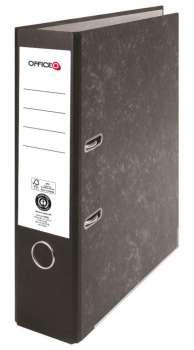 Pákový pořadač Niceday - A4, kartonový, nalepená hřbetní etiketa, šíře hřbetu 7,5 cm, černý
