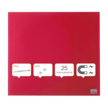 Skleněná magnetická tabule Nobo, 45x45 cm, červená