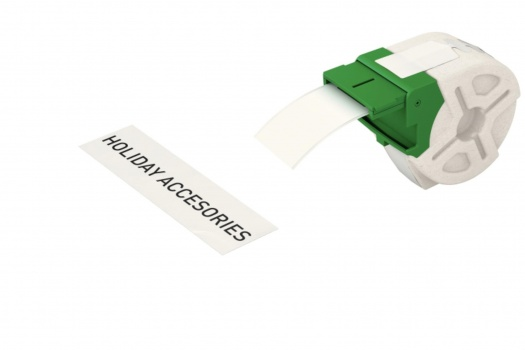Samolepicí papírová páska Leitz Icon - bílá, šířka 39 mm, návin 22 m, černé písmo