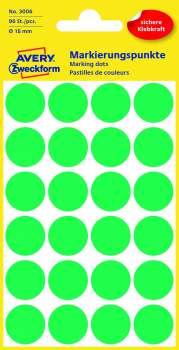 Samolepicí kulaté etikety Avery - zelené, průměr 18 mm, 96 ks
