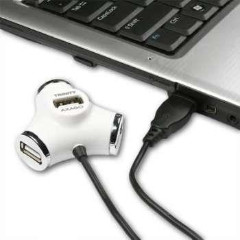 USB rozbočovač Axago - bílý