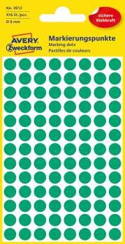 Samolepicí kulaté etikety Avery - zelené, průměr 8 mm, 416 ks