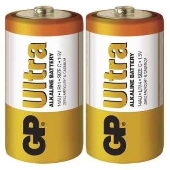 Baterie GP Ultra Alkaline 1,5 V, R14, typ C, 2 ks