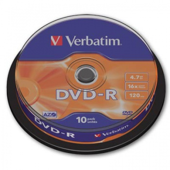 Disky DVD-R Verbatim - cake box, 10 ks
