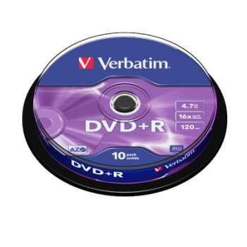 Disky DVD+R Verbatim - cake box, 10 ks