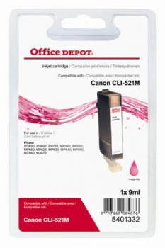 Cartridge Office Depot Canon CLI-521 M - purpurová