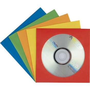 Papírové obálky na CD/DVD - s okénkem, mix barev, 100 kusů
