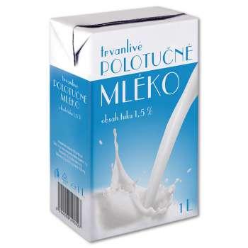 Trvanlivé mléko - polotučné, 1,0 l