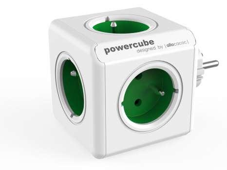 Rozbočka PowerCube Original, 5x zásuvka, zelená