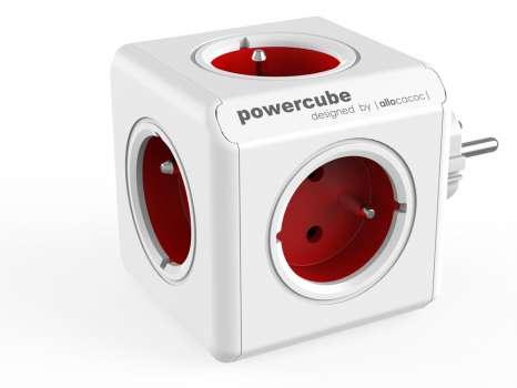Rozbočka PowerCube Original, 5x zásuvka, červená