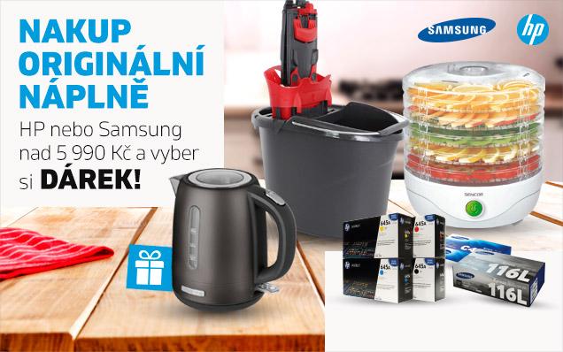 ZDARMA sušička, mop nebo konvice k nákupu náplní HP a Samsung!